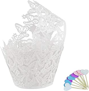 LDS 50pcs White Butterfly Lace Hollow Cupcake Wrappers Laser Cut Cupcake Papers Cake Decoration