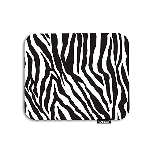 AOYEGO Zebra Print Mouse Pad Black White Leopard Line Stripes Wild Animal Skin Gaming Mousepad Rubber Large Pad Non-Slip for Computer Laptop Office Work Desk 9.5x7.9 Inch