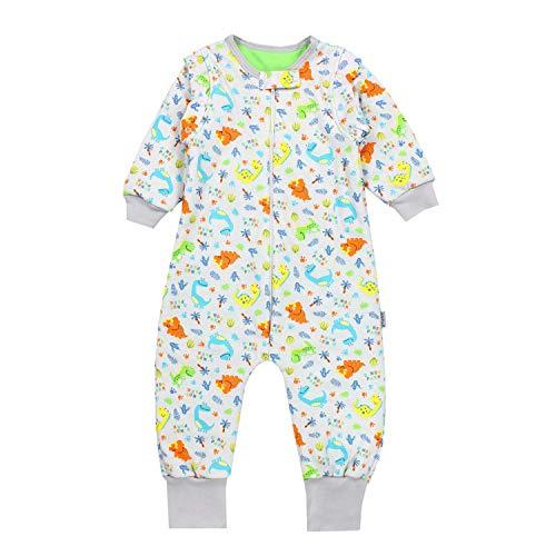 TupTam Baby Unisex Schlafsack mit Beinen und Ärmel Winter, Farbe: Dino Grün, Größe: 80-86