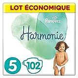Pampers Couches Harmonie Taille 5 (11-16kg) 0% de compromis, 100% d'absorption, Ingrédients d'origine végétale, Hypoallergéniques, 102 Couches (Lot économique)