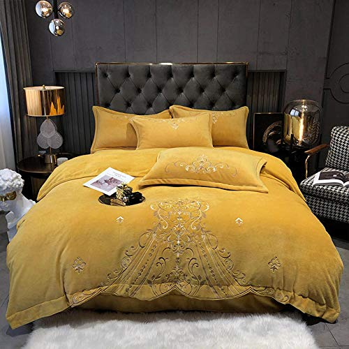 geek cook Bedding Set,Winter coral fleece four-piece suit plus velvet thickened milk double-sided bed plush down duvet cover suede flannel winter-turmeric_1.5m