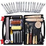 Ekalee - Juego de 50 herramientas de piel y accesorios, juego de herramientas de cuero, incluye herramientas de cuero, para punzar, punzón, para coser y cortar