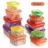 shopwithgreen Shopwthgreen Frischhaltedosen-Set, 12er (insgesamt 24 Stücke) - BPA Frei Behälter, Stapelbare und Mehrfarbige Brotdose, Mikrowellen & Spülmaschinensicherheit…