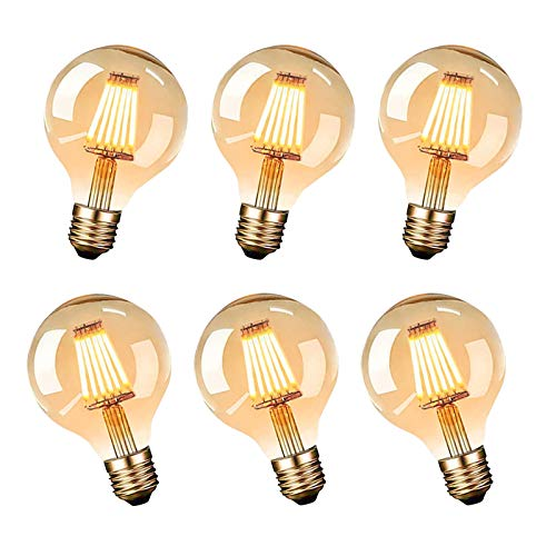 LED E27 Vintage Edison Bulb, Vintage Edison Light Bulbs G80 6W (Equivalent to 60W) Long Life Amber Warm - Pack of 6 [Energy Class A++]