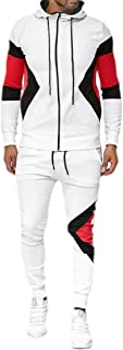 Mens Casual Tracksuit 2PC Set Zipper Hoodie Sweatshirt Sweatpants Sports Suit