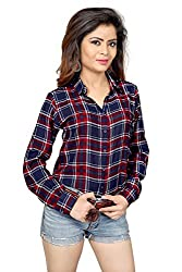 Trendif Womens Poly Modal Viscose Checkered Shirt