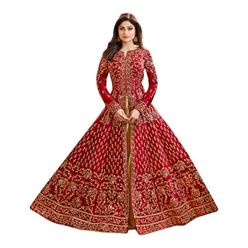 Mujeres Musulmanas Abaya Hijab Kaftan Bollywood Shalwar Viste a Pakistani Party Wear Señoras de la Boda Anarkali Long Salwar Kameez Kamiz Dress Mesh Punjabi 7124