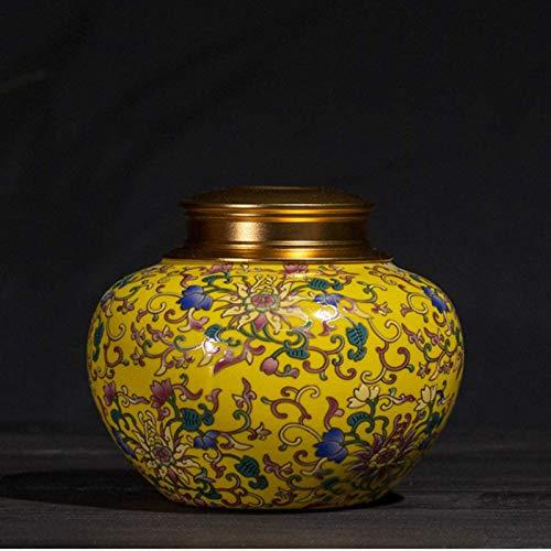 Urna Adultos,Urnas De Carnes para Ceniza, Urna Biodegradable, Visualización De Cerámica De La Urna En Casa/Oficina, 13x 13x 11 Cm. (Color : Yellow)