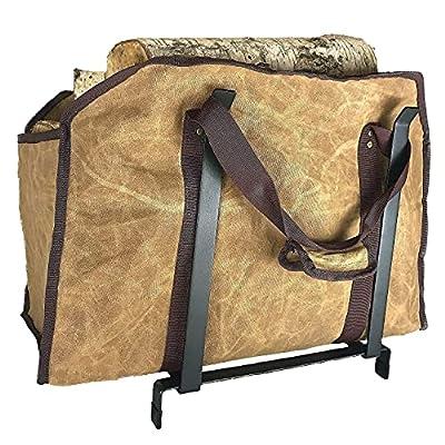 LivinWell Waxed Canvas Firewood Log Carrier Tote Bag & Metal Elevated Landing Rack Bundle by