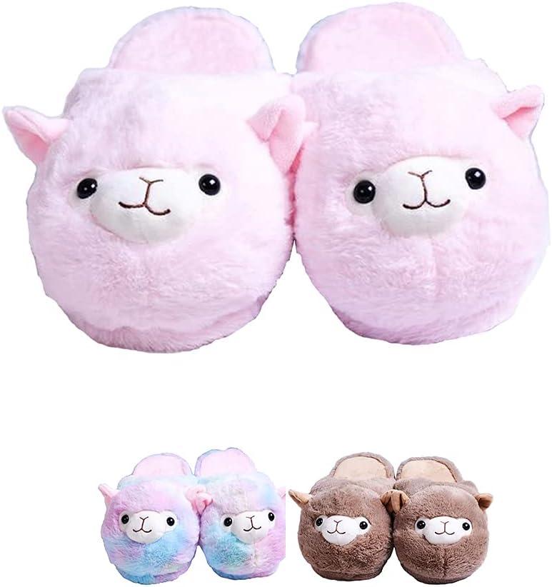 KKASOE Plush Max 79% OFF Alpaca Slippers Cute Gift W Wholesale
