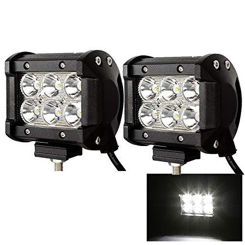 2 Stück LED Arbeitsscheinwerfer 18W Zusatzscheinwerfer 1800LM Scheinwerfer Wasserdicht IP67 Auto Offroad Flutlicht 12V Spotlight 6000K Arbeitslicht