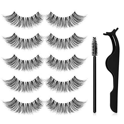 Falsche Wimpern, Canvalite Professional Wiederverwendbare Gesichtswimpern, klarer Schaft Falsche Wimpern sind natürlicher, 3D-Nerzimitat mit Wimpernclip 5 Paar Wimpernpinsel