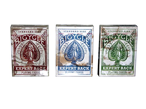 BICYCLE DISTRESSED EXPERT BACK PLAYING CARDS, 3 DECK SET by US Playing Cards