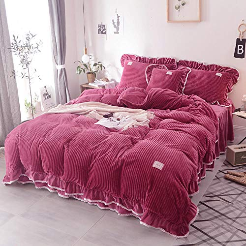 geek cook Duvet Cover Set king Size,Winter plush bed sheet duvet cover coral fleece four-piece suede double-sided flannel princess style female winter-Plum Red_2.2m (7 feet) bed