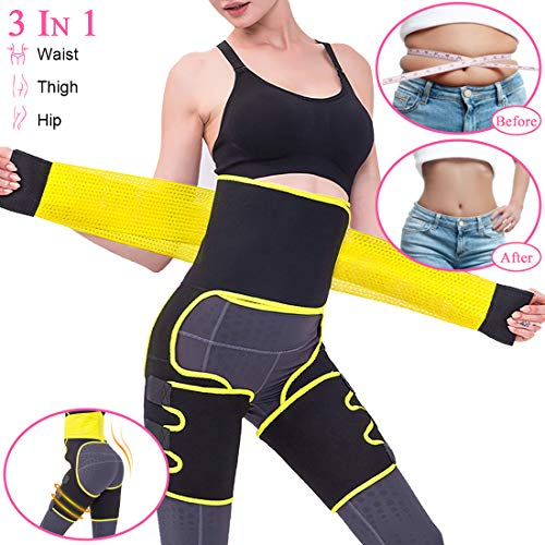 Kaqulec [New 2020 Plus Elastic Band High Waist Trainer Thigh,3-in-1 Trimmer Fitness Weight Butt Lifter Slimming Support Belt Hip Enhancer Shapewear Thigh Trimmers for Women (Yellow, S/M)