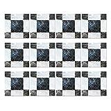 Mousyee Azulejos Adhesivos Pvc, 12 Piezas Azulejos Adhesivos 20x20, Autoadhesivo Impermeable PVC Efecto Mosaico Azulejos Pegatinas Transferencias para Baño Cocina Arte Calcomanías Decoración del Hogar
