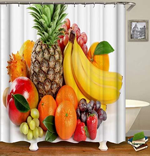 ZZZdz Ananas. Banane. Apfel. Duschvorhang: 180 X 180 cm. Wasserdichter Stoffteppich Für Duschvorhang. Bad Duschvorhang Set Polyesterfaser Bad Duschvorhang.