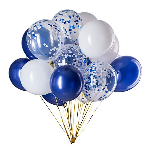 GAKA Navy Blue Confetti and White Balloons – Pack of 50,Party Helium Balloon Party Decorations Supplies 3 Style,12 Inch