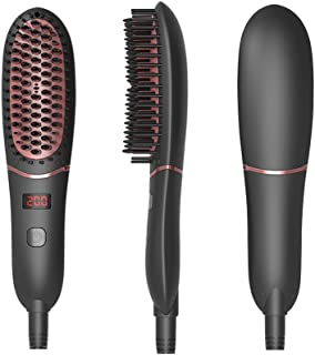 Hair Straightener Brush, Beard Straightener for Men's Medium Long Beard, LED Display, Ceramic Heating, Adjustable Temperatures, Anti Scald Ionic, Portable Frizz-Free Hair/Beard Care Silky Comb