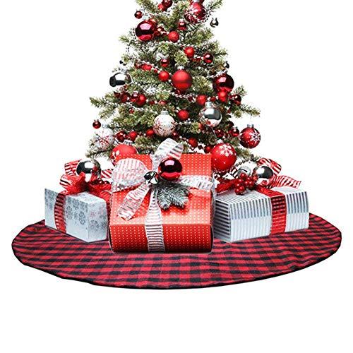 Mallalah Kerstboomrok, geruit, dubbele laag, 35/48 inch, Buffalo rood/zwart unique 90 Cm Sans Boule