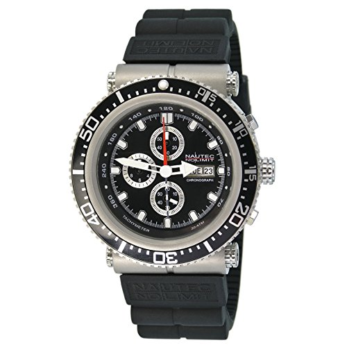 Nautec No Limit Herren-Armbanduhr XL Deep Sea Professional Chronograph Quarz Kautschuk DS-P QZ2/RBSTBKBK