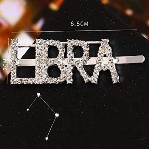 SELLA Mode 1 Pcs 12 Constellation Strass Épingle À Cheveux Cristal Anglais Brillant Lettre Argent Cristal Pince À Cheveux Accessoires De Cheveux, Balance