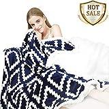 YUUHUM Ultra Soft Sherpa Fleece Blankets Twin Size Bed Plush Fuzzy Blanket (Twin 60'x80', Navy Blue)