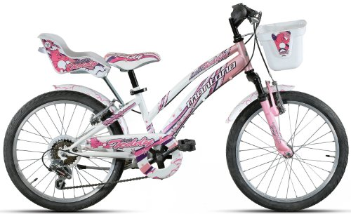 montana Mädchen Kinderfahrrad Little Teddy, rosa-weiß, Rahmenhöhe: 30 cm, Reifengröße: 20 Zoll (51 cm), 1120-MC