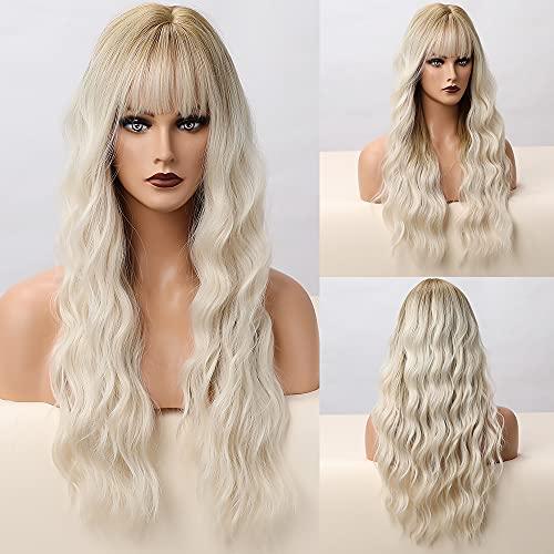 HAIRCUBE peluca ondulada dorada para mujeres, peluca sintética de pelo natural y peluca de flequillo de aire para uso diario y de fiesta