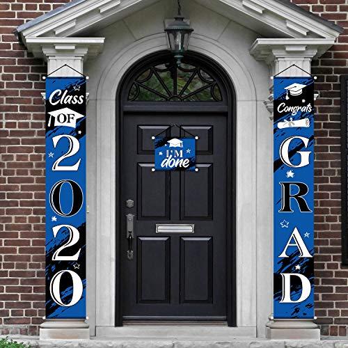 Blulu 3 Piezas Decoración de Graduación de 2020 de Colagente de Casa Puerta de Entrada Bienvenido, Pancarta de Porche de Grad 2020 Bandera de Graduación de Colgante de Class of 2020(Negro y Azul)