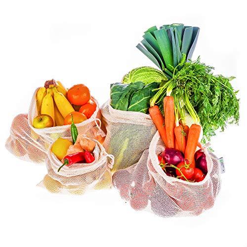 Instant Eco Einkaufsnetze für Obst und Gemüse 5er Set - Hochwertige, Wiederverwendbare Obst- und Gemüse Beutel mit Gewichtsangabe - Obst und Gemüsenetze, 100% Baumwolle, Zero Waste, Plastikfrei