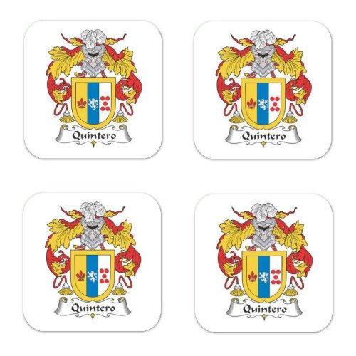Quintero Family Crest Square Coasters Coat of Arms Coasters - Set of 4