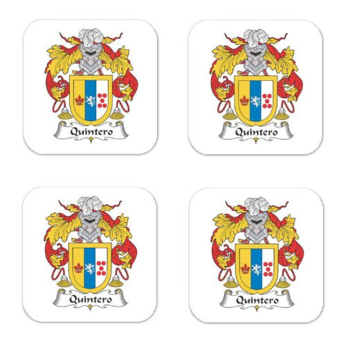 Quintero Family Crest Square Coasters Coat of Arms Coasters - Set of 4