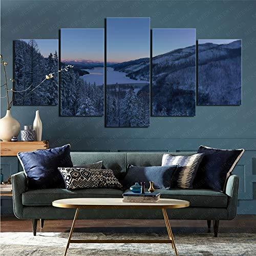 mmkow Panel de Arte de Pared 5 Piezas de Presa Hecha por el Hombre Sala de Estar Dormitorio Artista Aficionado Pintor 50x100cm (Marco)