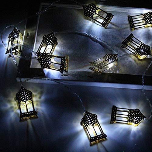 Lichterkette Muslim Ramadan Festival,FeiliandaJJ 1.6M 10LED Goldenen LED-Laternen LED Licht Hochzeit Party Halloween Xmas Innen/Außen Haus Deko String Lights (Weiß)