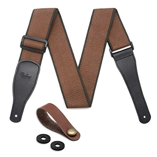 Guitar Strap for Acoustic, Electric and Bass Guitars - Soft Cotton & Genuine Leather Ends Guitar Shoulder Strap with 2 Strap Lock and Leather Button