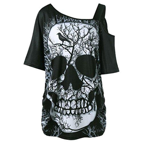 SEWORLD Damen Sommer Mode Damen Kurzarm Schräghals Schräglage Kragen Schädel T-Shirt Schulter Schädel T-Shirt Tops Bluse(Schwarz,44 DE/XL CN)