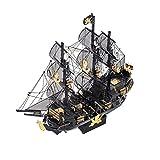 FXQIN Rompecabezas De Metal 3D Caribe Negro Perla del Barco Pirata Corte de Metal del 3D Puzzles para Adultos y Niños Maqueta de Barco Kit De Construcción De Metal Modelo para Montar