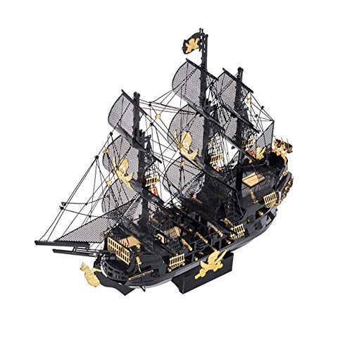 ZDSKSH Black Pearl Pirate Ship Building Kit 3D Metal Puzzle Assemble Model Kits DIY Stainless Steel Sailboat Model for Adults and Teens Jigsaw Gifts Toy Large 3D Metal Watercraft Model