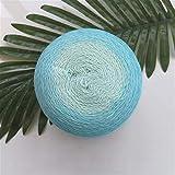 Hilo teñido de hilados de algodón segmento de primavera/verano 100% Tejido a mano Algodón puro del color del gradiente fino hilo de ganchillo chal manta (Color : 03 Sky)