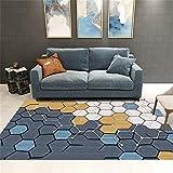 Alfombras Pie De Cama Fácil De Cuidar Decoración De Patrón De Mosaico Hexagonal Marrón Blanco Gris De Diseño Moderno Alfombra Dormitorio Moqueta 80X160cm
