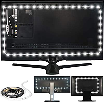 "Luminoodle Bias Lighting, Backlight Kit for Monitors up to 24"" - USB LED Light Strip - Computer Monitor Backlight - True White Adhesive Strip - White - Small (<24"" TV)"