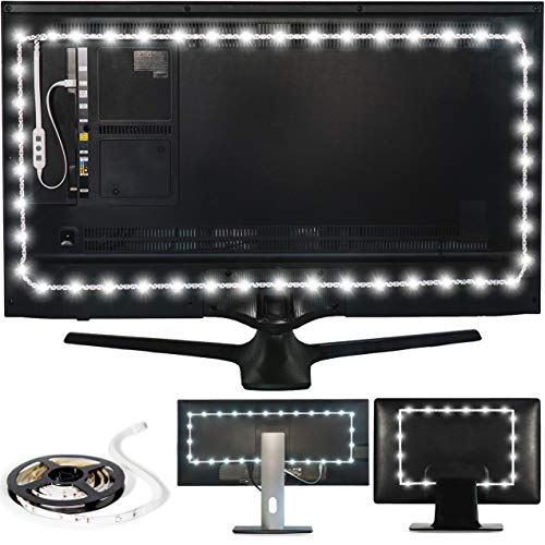 "Power Practical Luminoodle USB Bias Lighting - Large (9.8 feet, 30"" to 40"" TV) - 6500K LED Backlight Strip, Ambient Home Theater Light, Accent Lighting to Reduce Eye Strain, Improve Contrast - White"