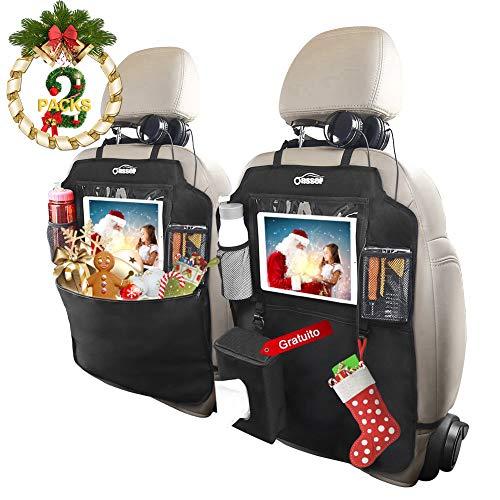 """Protezione Sedili Auto Bambini, Oasser 2pcs Proteggi Sedile Organizzatore Sedile Posteriore Impermeabile Supporto per Tablet 10""""con Scatola di Tessuto"""