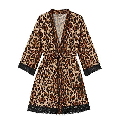 Meclelin Morgenmantel Damen Leopard Sexy Robe Kurz Kimono Satin Bademantel Pyjamas Spitze Cardigan Nachtwäsche