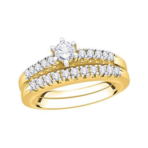 Anillo de compromiso con diamante de corte marqués y banda a juego en oro amarillo de 14 quilates (3/8 quilates, color G-H, claridad SI2-I1) (tamaño-10)