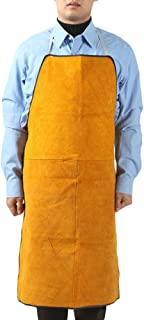 Leather Welding Work Apron - Heat Resistant & Flame Resistant Bib Apron