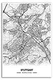 Zulumaps Poster 20x30cm Stadtplan Stuttgart - Hochwertiger