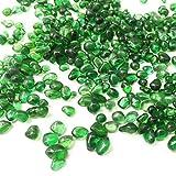 KISEER Clear Glass Stone Bulk 1 LB Glass Beads Gems Marbles Pebbles Gravel Rock for Aquarium, Fish Tank, Garden, Vase Fillers, Succulent Plants Decor (Green)