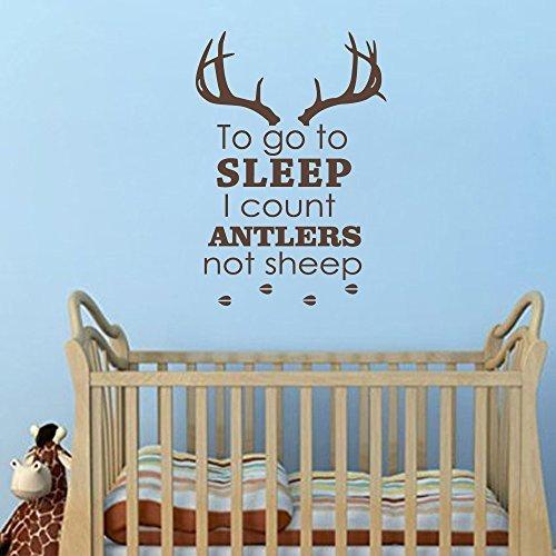 Adhesivo de pared divertido para habitación infantil con texto en inglés 'Nursery to Go to Sleep I Count Antlers Not Sheep Boy caza ciervo cuernos de caza para niños, dormitorio infantil, guardería, hogar, 22 pulgadas de alto x 32 pulgadas de ancho